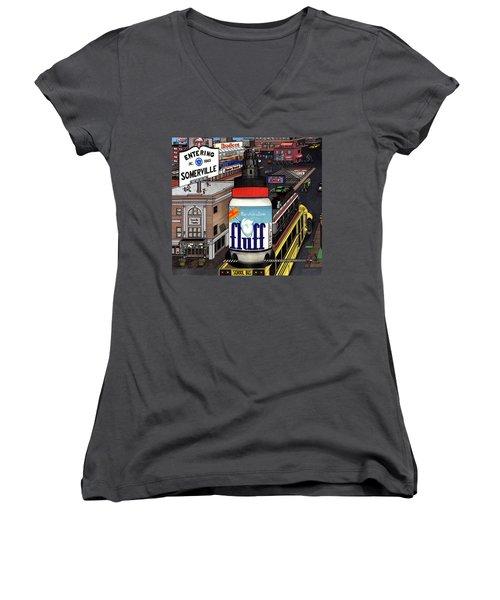 A Strange Day In Somerville  Women's V-Neck T-Shirt