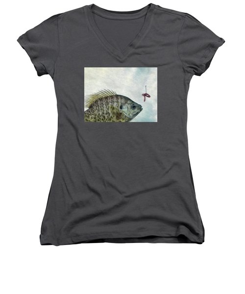 Women's V-Neck T-Shirt (Junior Cut) featuring the photograph Something Fishy by Mark Fuller