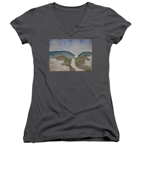 Women's V-Neck T-Shirt (Junior Cut) featuring the painting Somewhere In Florida by Antonio Romero