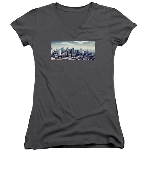 Women's V-Neck T-Shirt (Junior Cut) featuring the photograph Somewhere In Japan by Joseph Westrupp