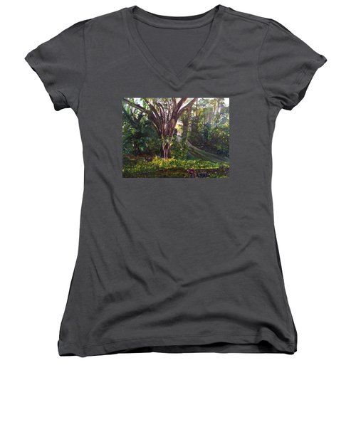 Somewhere In The Park Women's V-Neck T-Shirt (Junior Cut) by Belinda Low