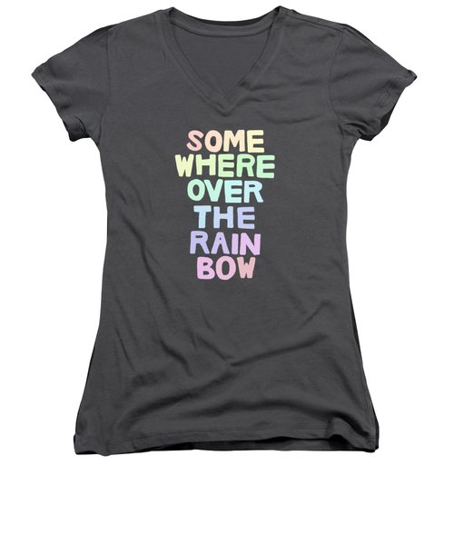 Somewhere Over The Rainbow Women's V-Neck T-Shirt (Junior Cut) by Priscilla Wolfe