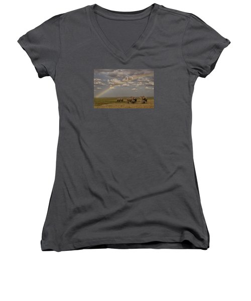 Women's V-Neck T-Shirt (Junior Cut) featuring the photograph Somewhere Under The Rainbow by Gary Hall