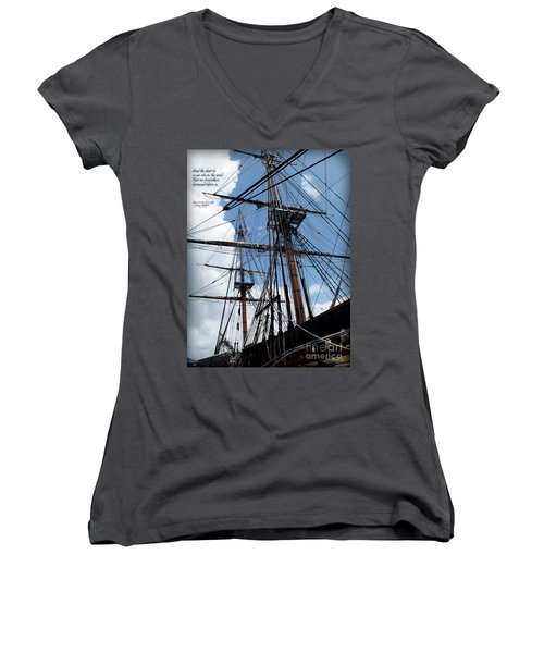 Son Of A Son Of A Sailor Quote - Tribute To The Bounty Women's V-Neck T-Shirt (Junior Cut) by Joan  Minchak