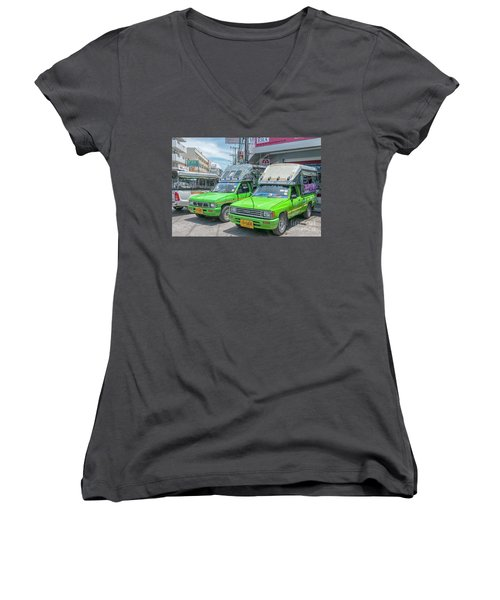 Women's V-Neck T-Shirt (Junior Cut) featuring the photograph Songthaew Taxi by Antony McAulay