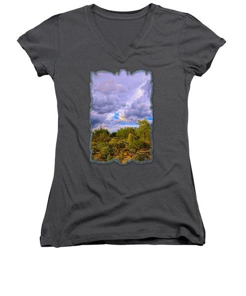Sonoran Desert V13 Women's V-Neck T-Shirt (Junior Cut) by Mark Myhaver