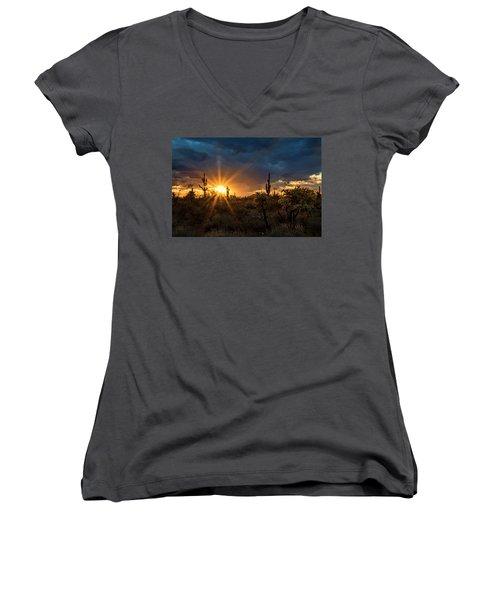 Women's V-Neck T-Shirt featuring the photograph Sonoran Gold At Sunset  by Saija Lehtonen