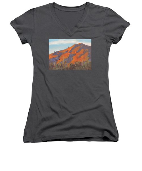 Sonoran Sunset - Art By Bill Tomsa Women's V-Neck (Athletic Fit)