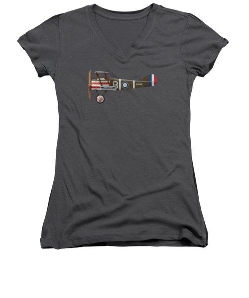 Sopwith Camel - B6299 - Side Profile View Women's V-Neck T-Shirt (Junior Cut) by Ed Jackson