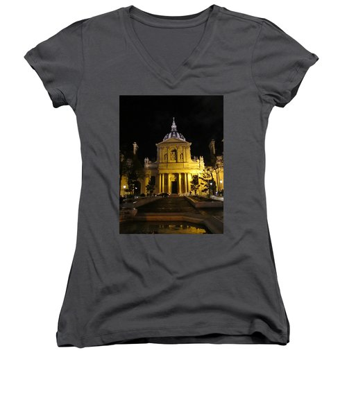 Women's V-Neck T-Shirt (Junior Cut) featuring the photograph Sorbonne Night by Christopher Kirby