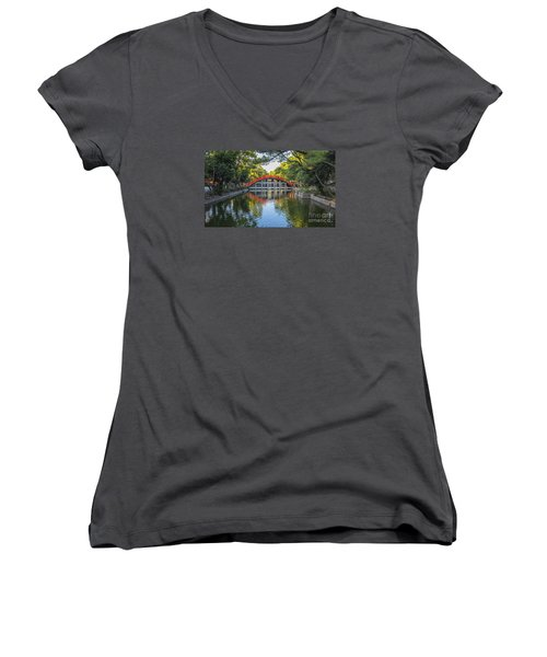 Women's V-Neck T-Shirt (Junior Cut) featuring the photograph Sorihashi Bridge In Osaka by Pravine Chester
