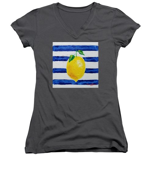 Women's V-Neck T-Shirt featuring the painting Sorrento Lemon by Judith Rhue