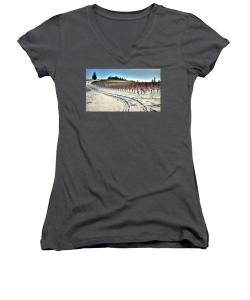 Soter Vineyard Winter Women's V-Neck T-Shirt (Junior Cut) by Jerry Sodorff