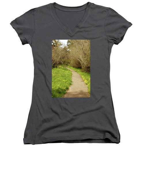 Women's V-Neck T-Shirt (Junior Cut) featuring the photograph Sour Grass Trail by Art Block Collections
