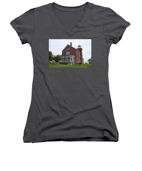 South Bass Island Lighthouse- Horizontal Women's V-Neck T-Shirt (Junior Cut)
