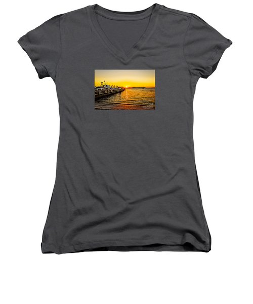 South Beach Sunset Women's V-Neck (Athletic Fit)