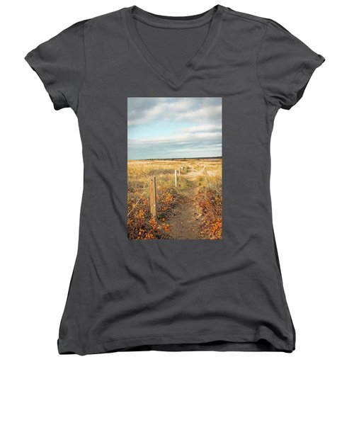 Women's V-Neck T-Shirt (Junior Cut) featuring the photograph South Cape Beach Trail by Brooke T Ryan