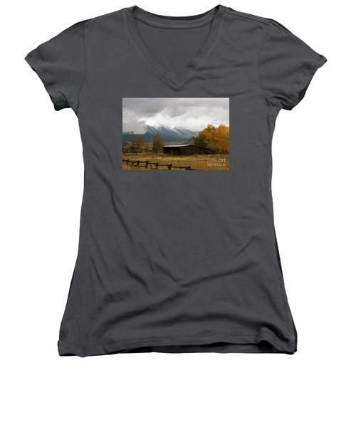 South Idaho Rt 20 Women's V-Neck T-Shirt (Junior Cut) by Cindy Murphy - NightVisions