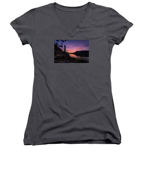 South Shore Lake Dillon Sunset Women's V-Neck T-Shirt (Junior Cut) by Michael J Bauer
