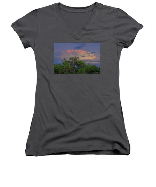 Women's V-Neck T-Shirt featuring the photograph Southeast Of Sunset H38 by Mark Myhaver