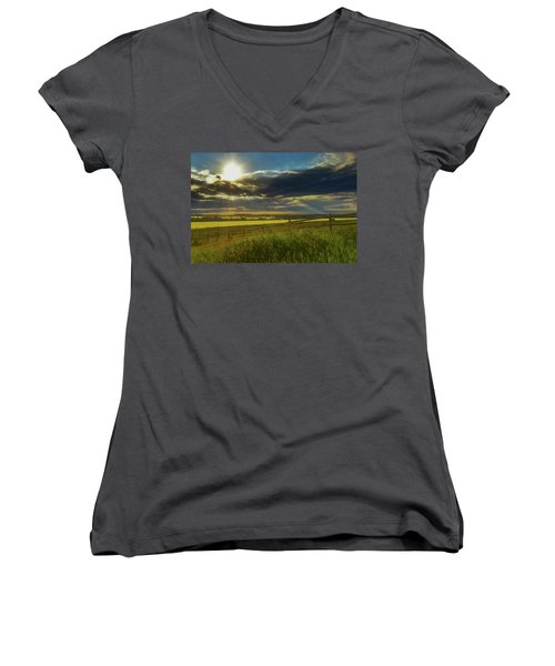 Southern Alberta Crop Land Women's V-Neck (Athletic Fit)