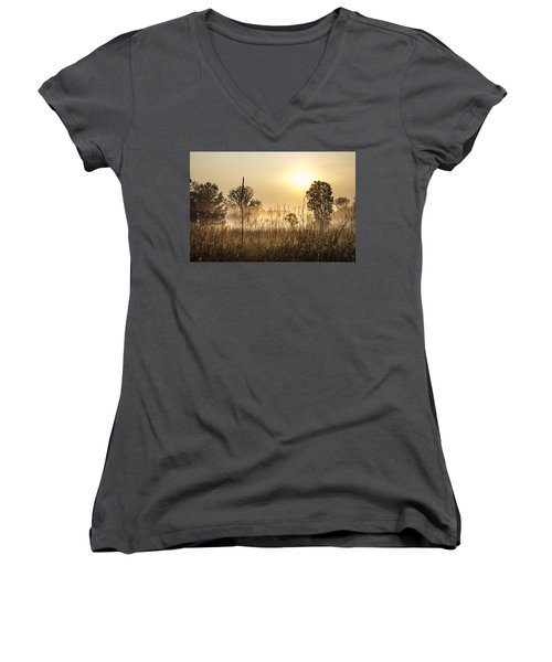 Southern Michigan Foggy Morning  Women's V-Neck