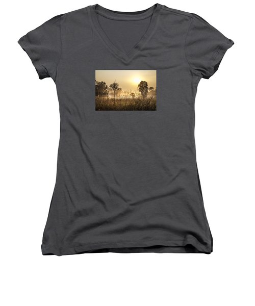 Southern Michigan Foggy Morning  Women's V-Neck T-Shirt (Junior Cut)