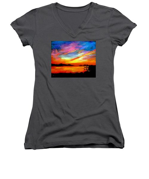 Women's V-Neck T-Shirt (Junior Cut) featuring the painting Southern Sunset by Gail Kirtz