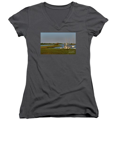Southport Marina Sunrise Women's V-Neck T-Shirt
