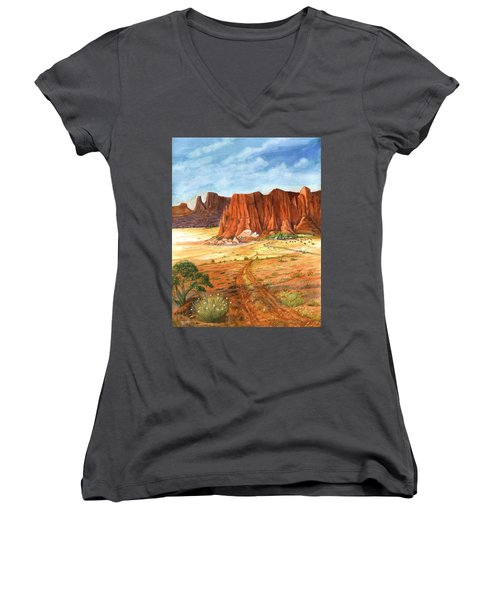 Women's V-Neck T-Shirt (Junior Cut) featuring the painting Southwest Red Rock Ranch by Marilyn Smith