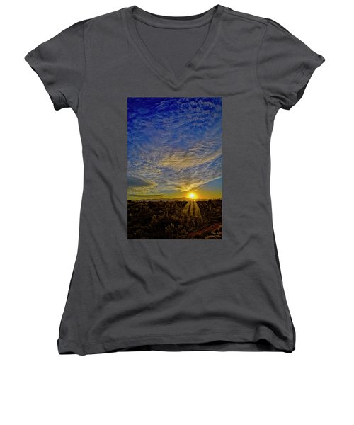 Women's V-Neck T-Shirt featuring the digital art Southwest Sunset Op40 by Mark Myhaver