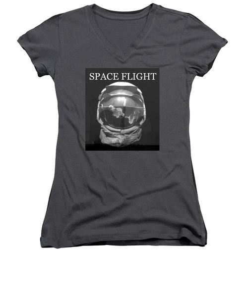 Women's V-Neck T-Shirt (Junior Cut) featuring the photograph Space Flight by David Lee Thompson