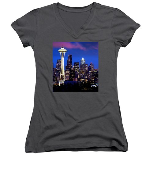 Space Needle At Night  Women's V-Neck (Athletic Fit)