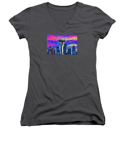 Space Needle Colorful Sky Women's V-Neck T-Shirt