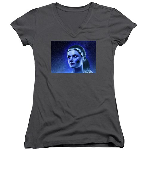 Space Odyssey Women's V-Neck T-Shirt (Junior Cut) by Scott Meyer