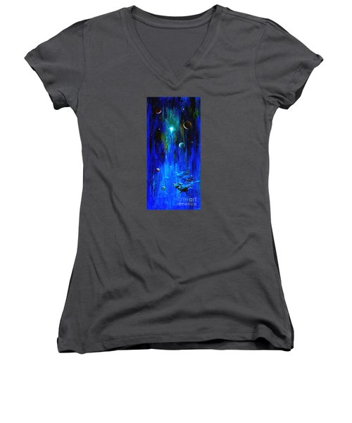 Women's V-Neck T-Shirt (Junior Cut) featuring the painting Space Shark by Arturas Slapsys