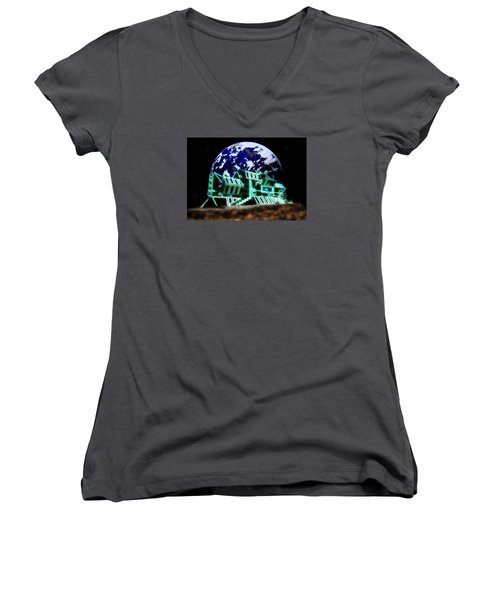 Women's V-Neck T-Shirt (Junior Cut) featuring the painting Space Station Omega by Mario Carini