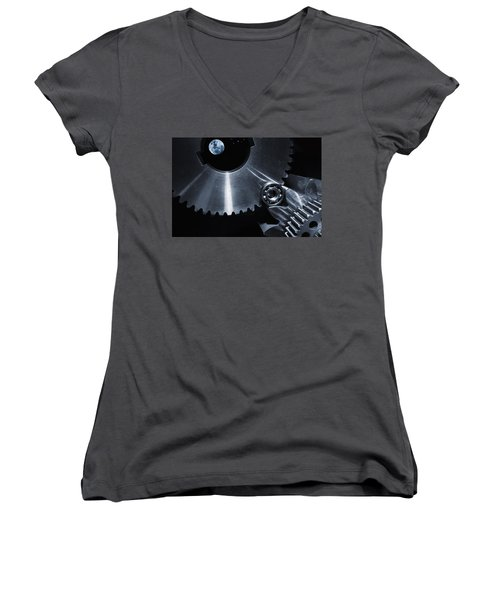 Women's V-Neck T-Shirt (Junior Cut) featuring the photograph Space Technology And Titanium Parts by Christian Lagereek