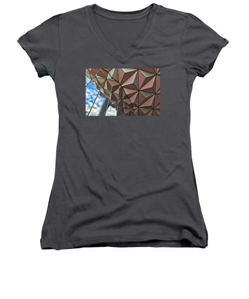 Spaceship Earth And Sky Women's V-Neck (Athletic Fit)