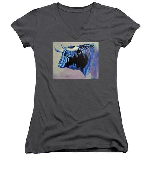 Spanish Bull Women's V-Neck T-Shirt (Junior Cut) by Manuel Sanchez