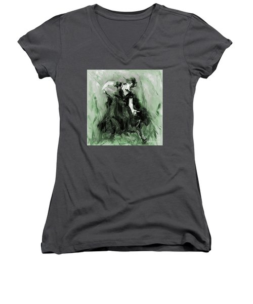 Women's V-Neck T-Shirt (Junior Cut) featuring the painting Spanish Flamenco Dancer by Gull G