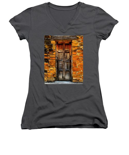 Spanish Mission Door Women's V-Neck T-Shirt