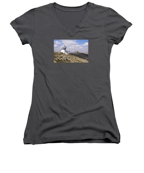 Spanish Windmills And Castle Of Consuegra Women's V-Neck T-Shirt (Junior Cut) by Perry Van Munster