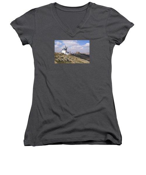 Spanish Windmills And Castle Of Consuegra Women's V-Neck T-Shirt