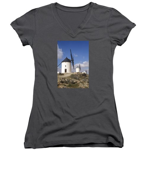 Spanish Windmills In The Province Of Toledo, Women's V-Neck T-Shirt (Junior Cut) by Perry Van Munster