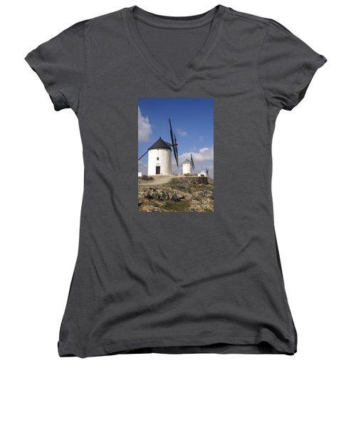 Spanish Windmills In The Province Of Toledo, Women's V-Neck T-Shirt