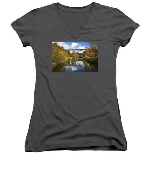 Women's V-Neck featuring the photograph Spanning The Cuyahoga River by Dale Kincaid