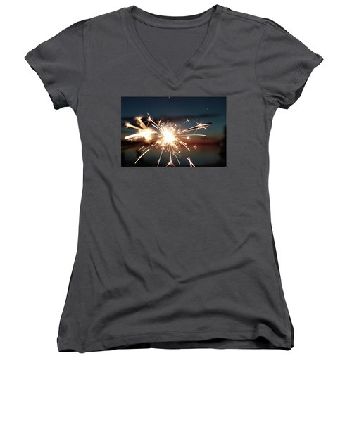 Sparklers After Sunset Women's V-Neck T-Shirt (Junior Cut) by Kelly Hazel