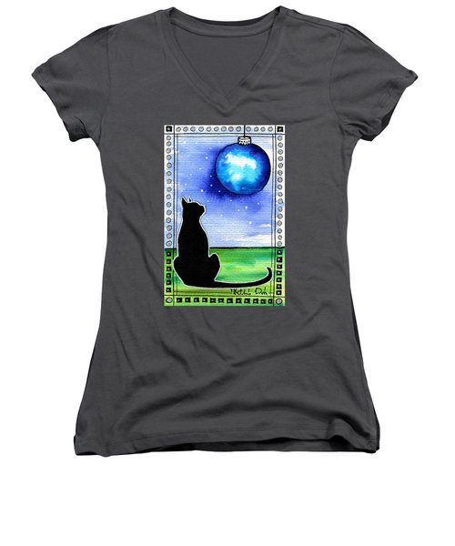 Sparkling Blue Bauble - Christmas Cat Women's V-Neck