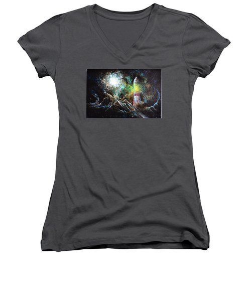 Women's V-Neck T-Shirt (Junior Cut) featuring the painting Sparks - The Storm At The Start by Sandro Ramani